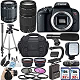 Canon EOS Rebel T7i DSLR Camera with Canon EF-S 18-55mm IS STM Lens + EF 75-300mm III + 2 x 32GB SD Card Accessory Bundle – International Version