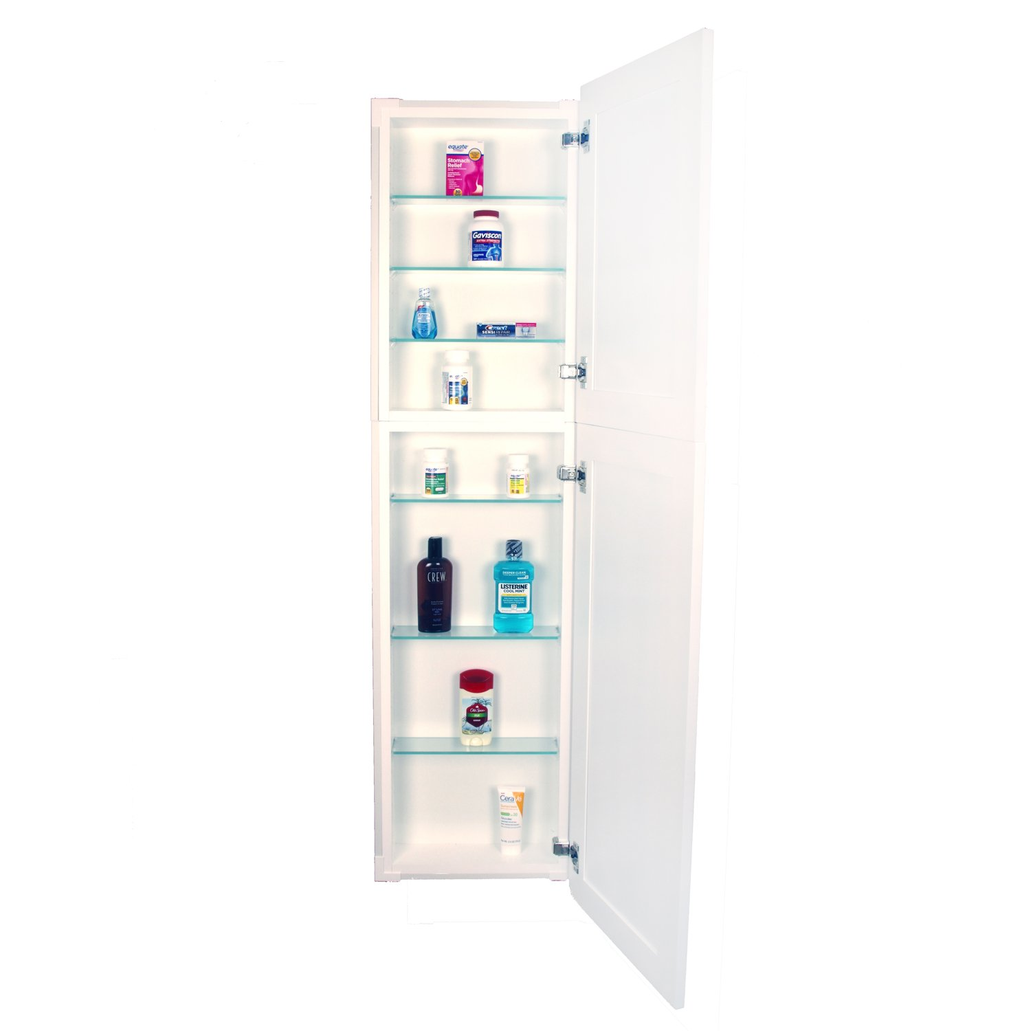 WG Wood Products Shaker Style Frameless Recessed Wall Bathroom Medicine Storage Pantry Cabinet with Multiple Finishes, 56'', White Enamel by WG Wood Products (Image #5)