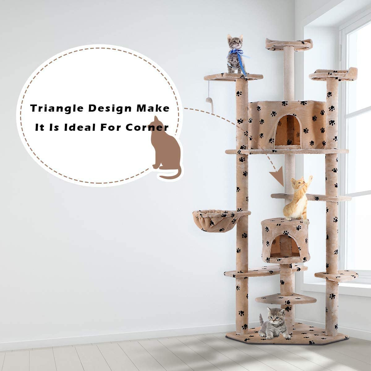 PETSITE 80 H Pet Cat Tree Kitten Activity Tower with Scratching Post Cat Condo House Pet Furniture