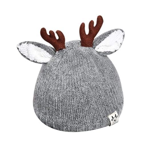 7b28cfffe27 Amazon.com  Cute Reindeer Antlers Baby Beanie Soft Warm Crochet ...