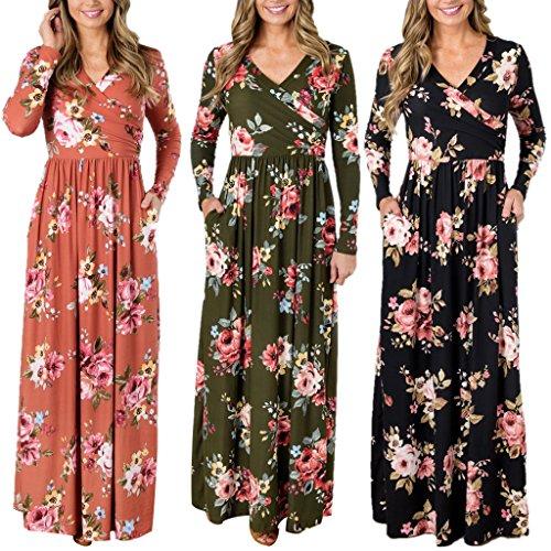 Doober Robe À Imprimé Floral Manches Longues Femmes Dame Soirée Robe Maxi Longue Noire