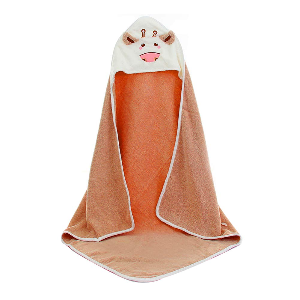 Hooded Baby Bath Towel Unisex Animal Bathrobe Cotton Towel Blanket for Newborn Toddlers Brown
