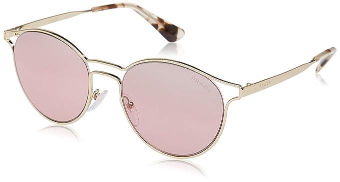 e1d12d345129 PRADA Women's 0PR62SS ZVN095 53 Sunglasses, Pale  Gold/Ltvioletmirrorsilvergrad: Amazon.co.uk: Clothing