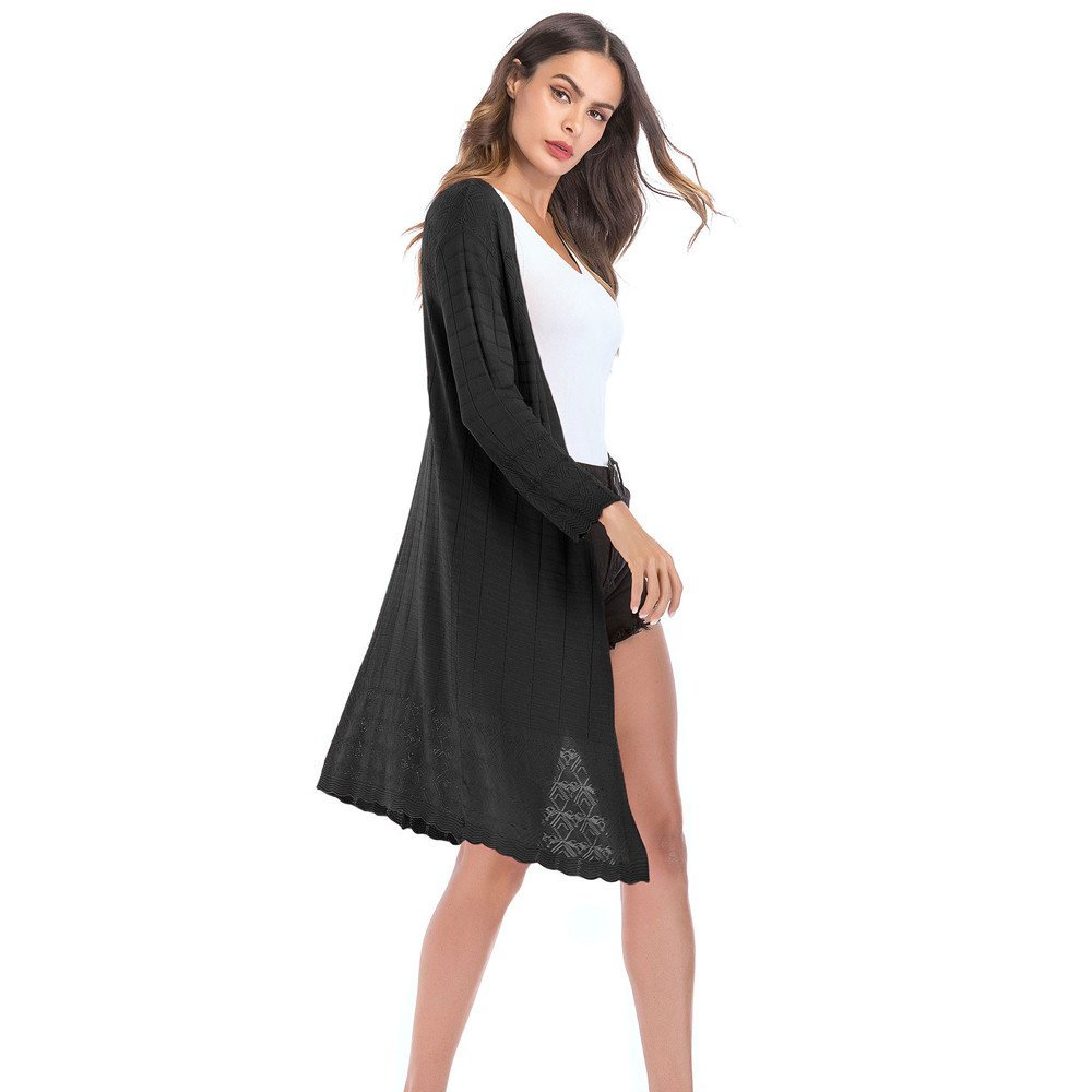 HHei_K Womens Casual Loose Hollow Patchwork Solid Knit Tassel Long Sleeve Cardigan Coat Outwear by HHei_K (Image #2)