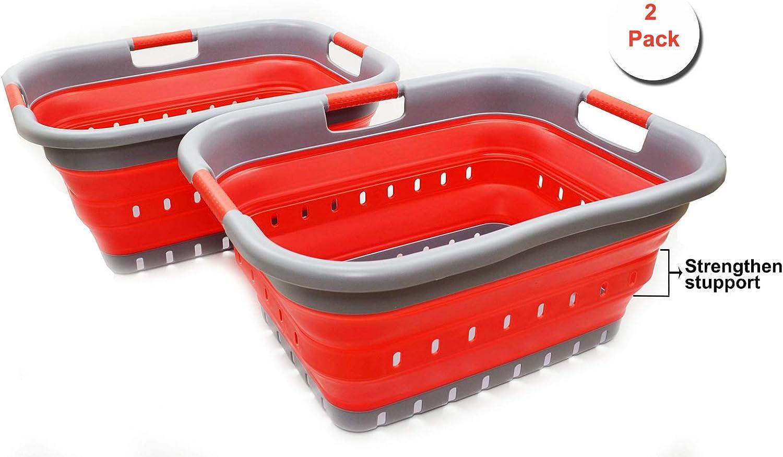 SAMMART Set of 2 Collapsible 3 Handled Plastic Laundry Basket - Foldable Pop Up Storage Container/Organizer - Portable Washing Tub - Space Saving Hamper/Basket (2, Grey/Red)