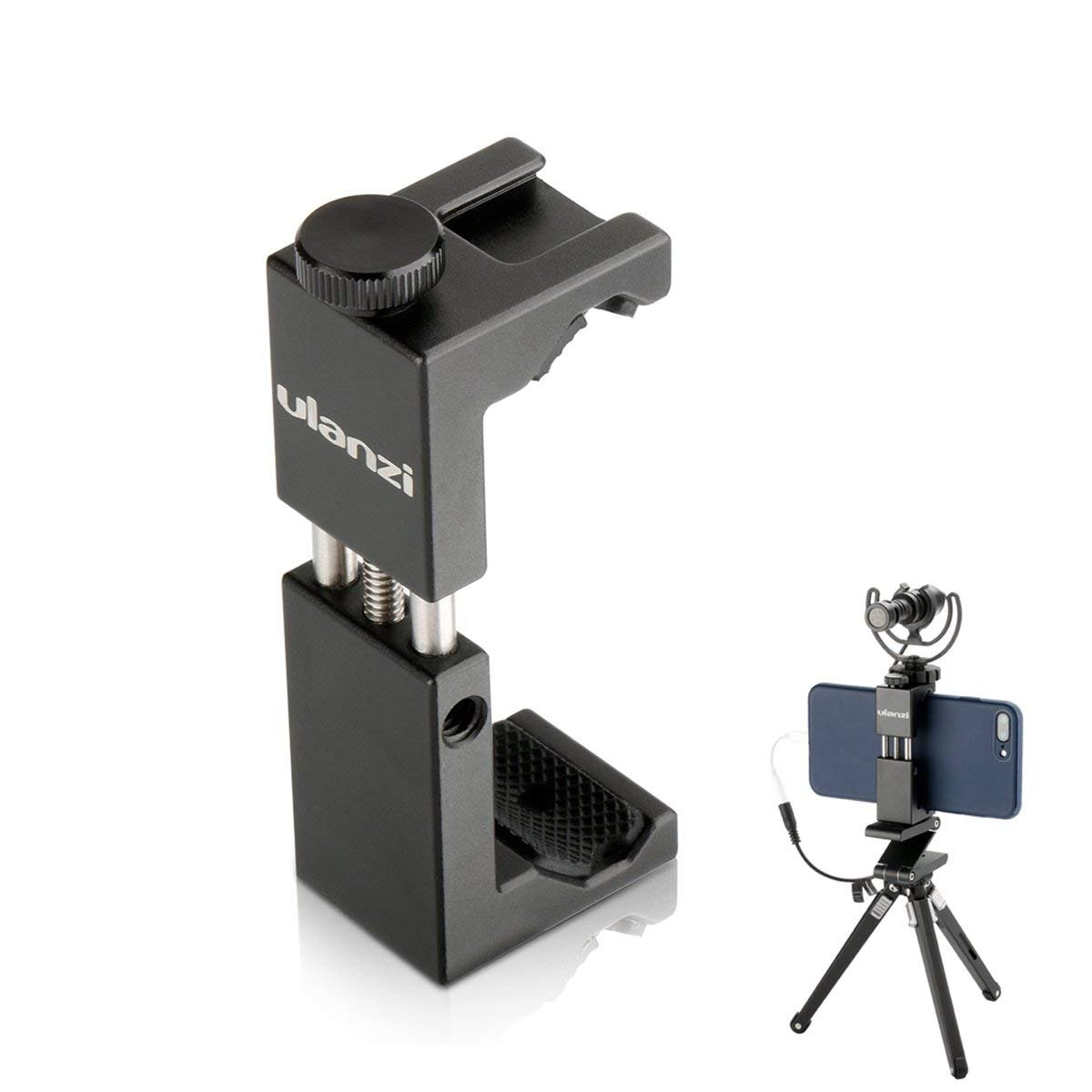 Phone Tripod Mount w Cold Shoe, by Ulanzi, Metal Phone Tripod Adapter Aluminum Alloy Vertical w 1/4 inch Screw for iPhone X 8 7 6 plus Huawei for Tripod, Selfie Stick, Microphone, Light (ST-02S)