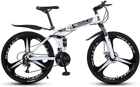 BIU Bicicleta De Montaña De 26 Pulgadas, Bicicleta De Carretera para Adultos con Freno De Doble Disco De 3 Ruedas De Corte, Bicicleta De Cambio Plegable De Acero Al Carbono,Blanco,27 Speed: Amazon.es: