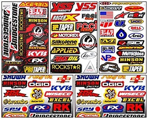 Set of 5 Motocross Dirt Bike Helmet Decal Kit Sticker Sheets #Su-501 (Rockstar Dirt Bike Helmets)