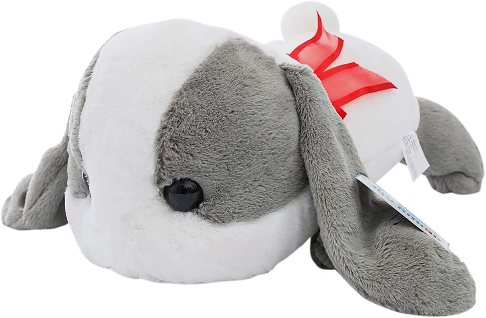 Bigger Than You Expect Sleepy Cuddly Bunny with Big Head Fluffy Rabbit Plush Toy Cushion Pillow Gift (Grey-White)