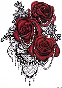 Temporary Tattoo Sticker Rose Pattern Fake Waterproof Black Red Stickers for Adults Body Art Women Man(14.8x21cm)