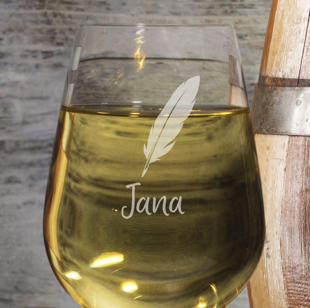 Design Feder printplanet/® Wei/ßweinglas mit Namen Jana graviert Leonardo/® Weinglas mit Gravur