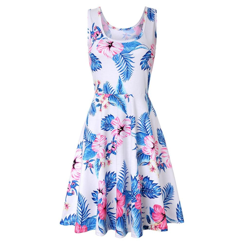 Women Casual Floral Dress Sleeveless Printing Summer Beach A Line Clearance SWPS