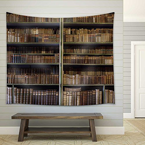wall26 - Historic Old Books in Ancient Library, Wooden Bookshelf - Fabric Wall Tapestry Home Decor - 68x80 inches