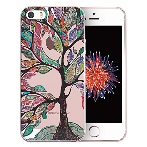 iPhone SE Case, iPhone 5S Case, iPhone 5 Case, Doramifer Illustration Series Protective Case [Anti-Slip] [Good Grip] with Aesthetic 3D Print Soft Back Cover for iPhone SE/5S/5 (Magic Tree) (Mobile Phone Case Magic 5s I)
