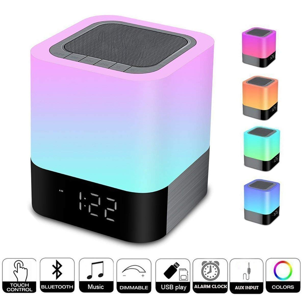 Homcasito Night Light Bluetooth Speaker,Bedside Lamps Touch Sensor Dimmable Warm White Light Color Changing Alarm Clock Wireless Music Player Best for Kids,Party,Bedroom,Camping Gift