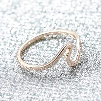 144793d6f Image Unavailable. Image not available for. Color: Barogirl Wave Rose Gold Ring  Engagement Roses Ring for Women Women's ...
