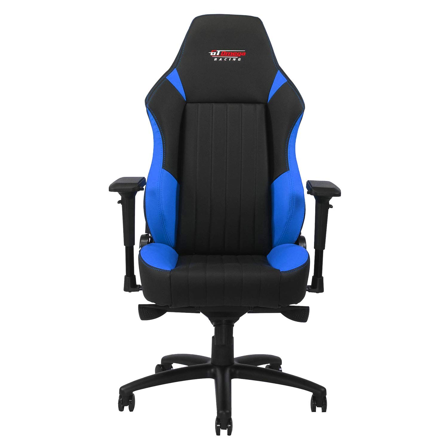 GT OMEGA EVO XL Racing Gaming Chair with Lumbar Support - Heavy Duty Ergonomic Office Desk Chair with 4D Adjustable Armrest & Recliner - PVC Leather Esport Seat for Racing Console - Black & Blue by GT OMEGA