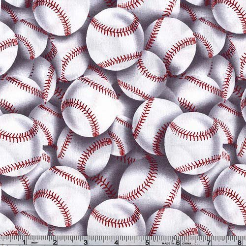 - Timeless Treasures CC-417 Baseball Toss White Fabric by The Yard,