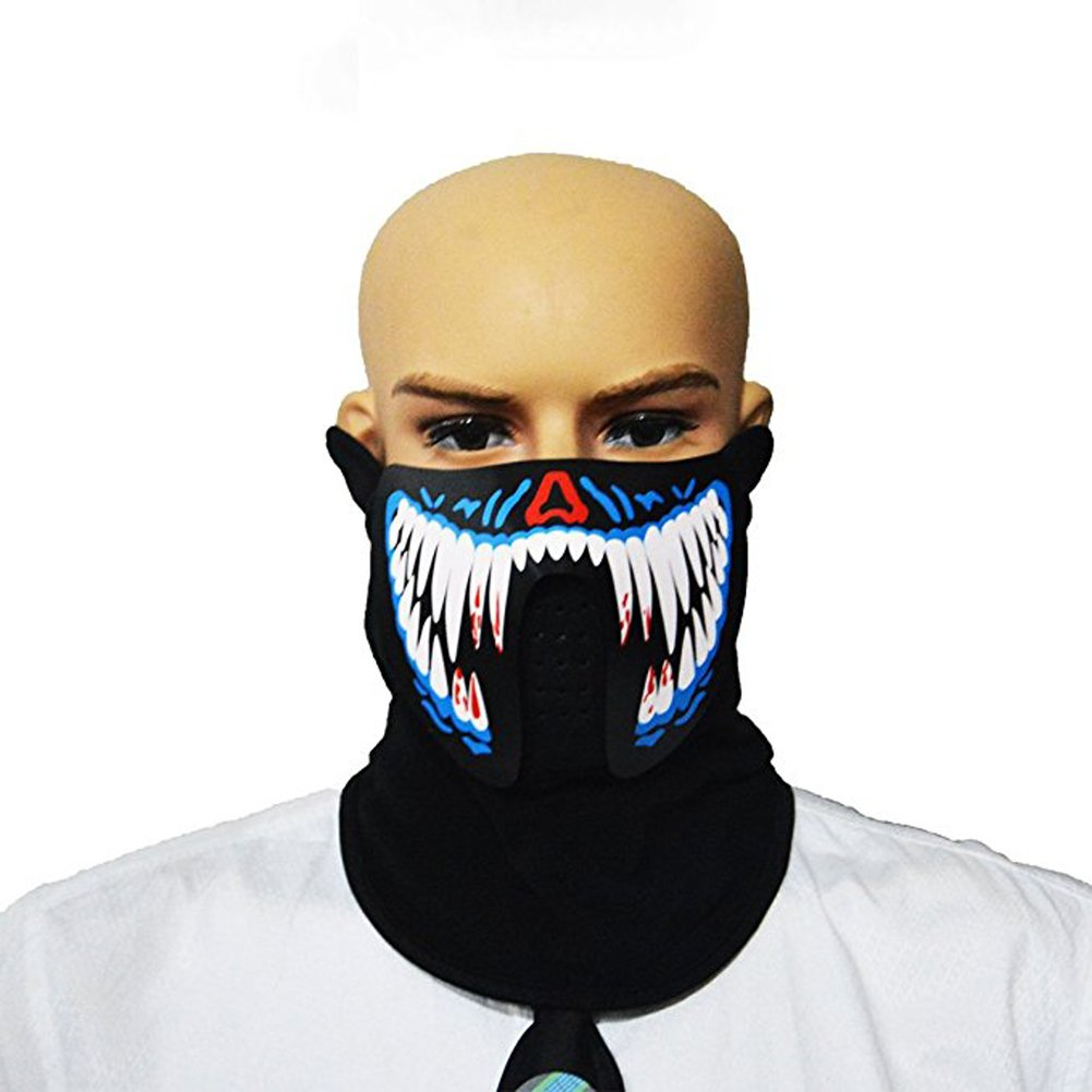 Sound Reactive LED Mask Activated Light Up Rave Festival EDM Party UK SELLER
