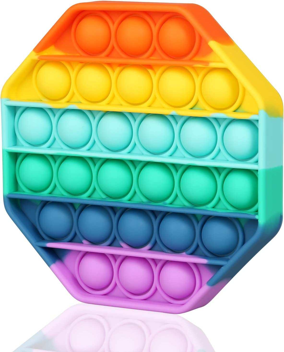 Pop Up It Fidget Toys Push On Pop Rainbow Bubble Sensory Toys for Anxiety & Stress Relief Autism Learning Materials, Gifts Toy for Toddlers Boys Girls Kids Teens Older(1 Pack-Rainbow Octagon)