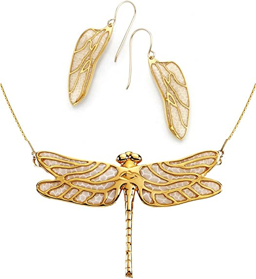 Amazon Com Gold Plated Silver Dragonfly Necklace And Wing Earring