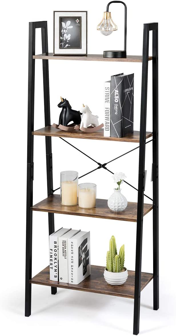 Tangkula Industrial Ladder Shelf, 4-Tier Retro Metal Frame Bookshelf, Multipurpose Bookcase Storage Organizer for Home Living Room Office, 4-Tier Ladder Shelves Rustic Brown