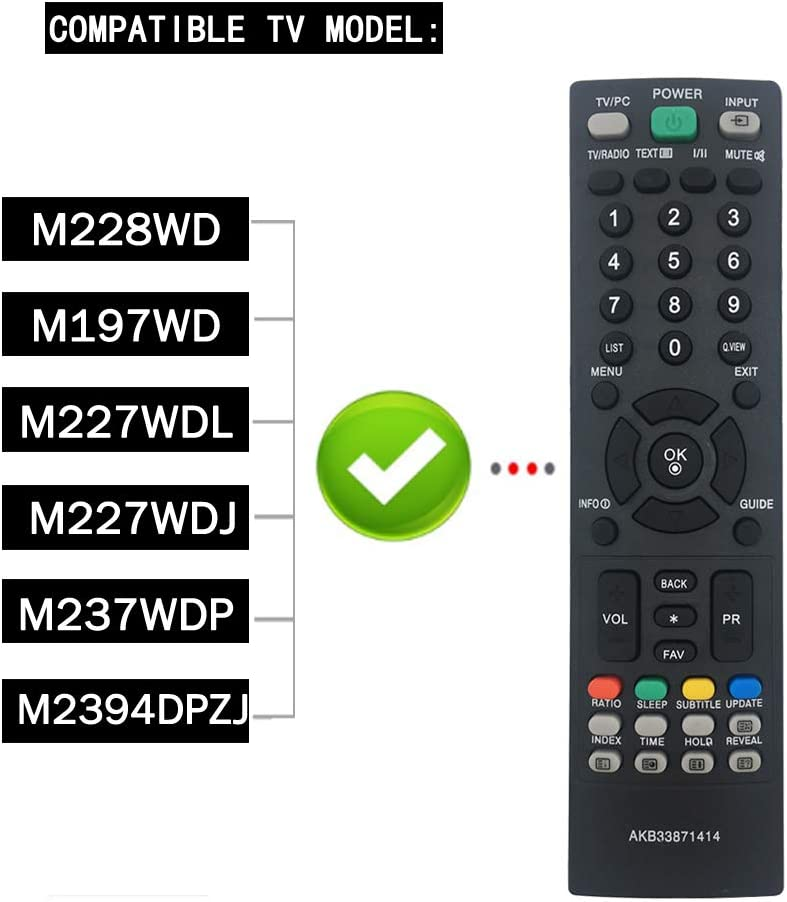 El Nuevo Control Remoto para TV AKB33871414 es Apto para LG TV M228WD M197WD M227WD-L M227WDJ 19LG3000-ZA FLATRON FLATRON: Amazon.es: Electrónica