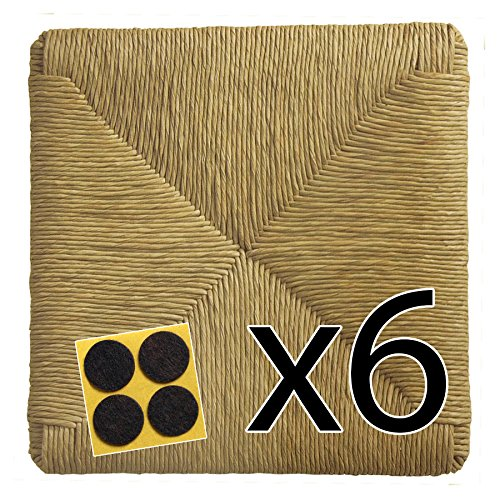 ArredaSì Fondi in paglia 37x37 (mod. 901 zf) Ricambi per sedie impagliate [Set di 6 pz] + Feltrini in OMAGGIO