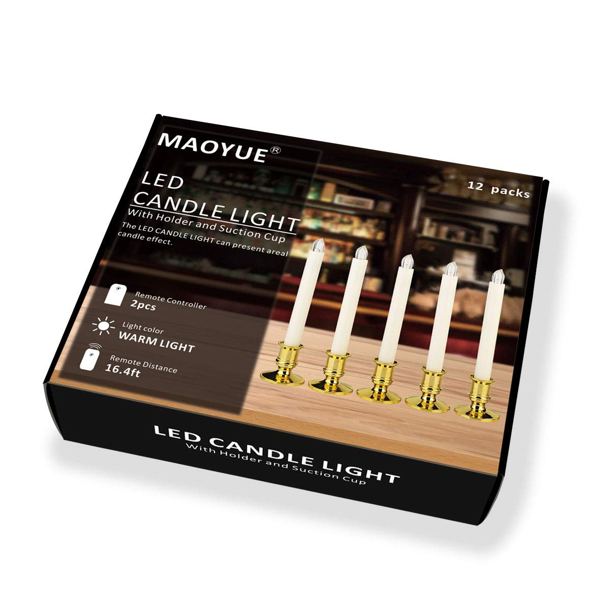 Window Candles, MAOYUE 12 Pack LED Candles with Timer ...
