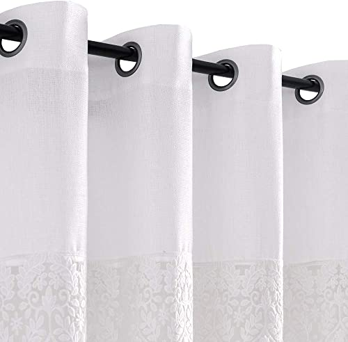 jinchan Semi Sheer Window Curtains Color Block Privacy Casual Weave Textured Grommet Top French Window Curtain Drapes 2 Panels 95 L White