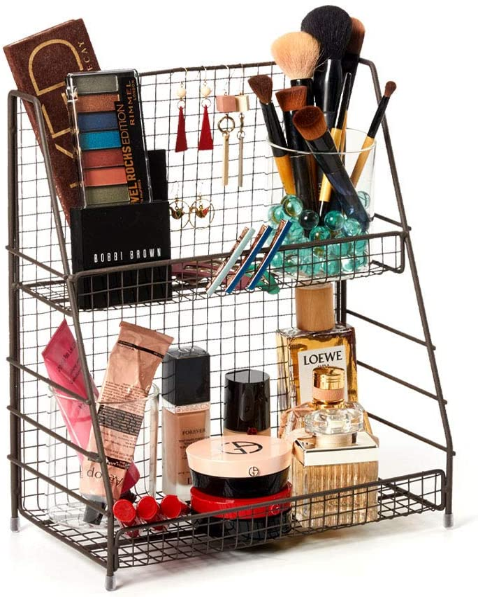 2-Tier Spice Rack Kitchen Countertop Organizers Wire Basket Storage Bathroom S//L