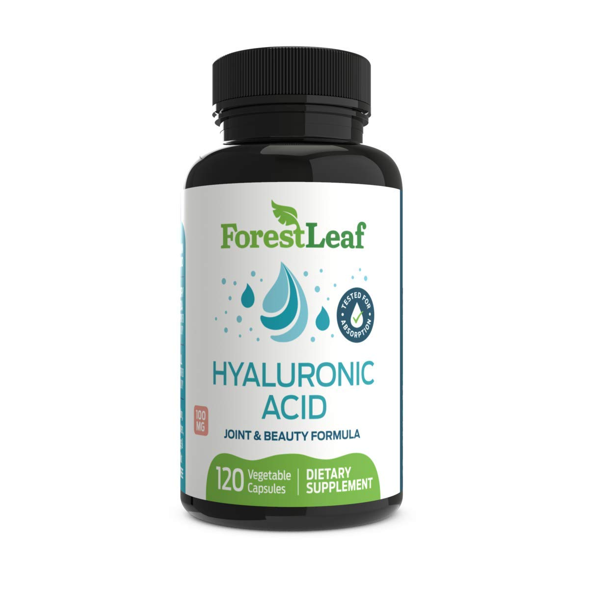 Hyaluronic Acid Dietary Supplement, 100 mg - 120 Vegetable Capsules - Joints, Bones and Connective Tissue Formula - Daily Anti Aging Beauty Serum for Healthy Skin, Hair and Eyes - by ForestLeaf by ForestLeaf