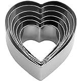 "Heart Cookie Cutter Set - 6 Piece - 3 4/5"", 3 1/5"", 2 4/5"", 2 3/5"", 2 1/5"", 1 4/5"" - Heart Shaped Cookie Cutters…"
