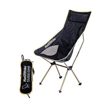 Naturehike Silla Plegable Ligera con Respaldo - Silla para Acampar con Bolsa de Transporte para Pescar Senderismo Viajes