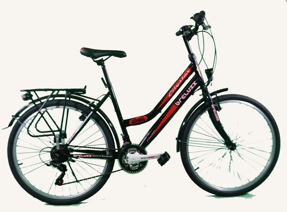 Breluxx® 24 Zoll Damenfahrrad Mädchenrad Citybike schwarz - 21 Gang Shimano + Beleuchtung
