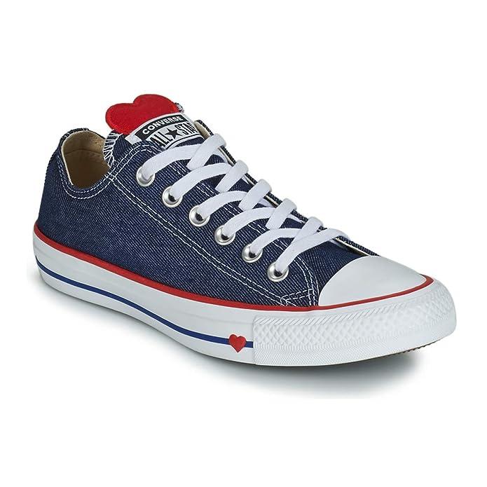 Converse Chuck Taylor (Chucks) All Star Sneaker Damen Blauer Jeansstoff mit Herz