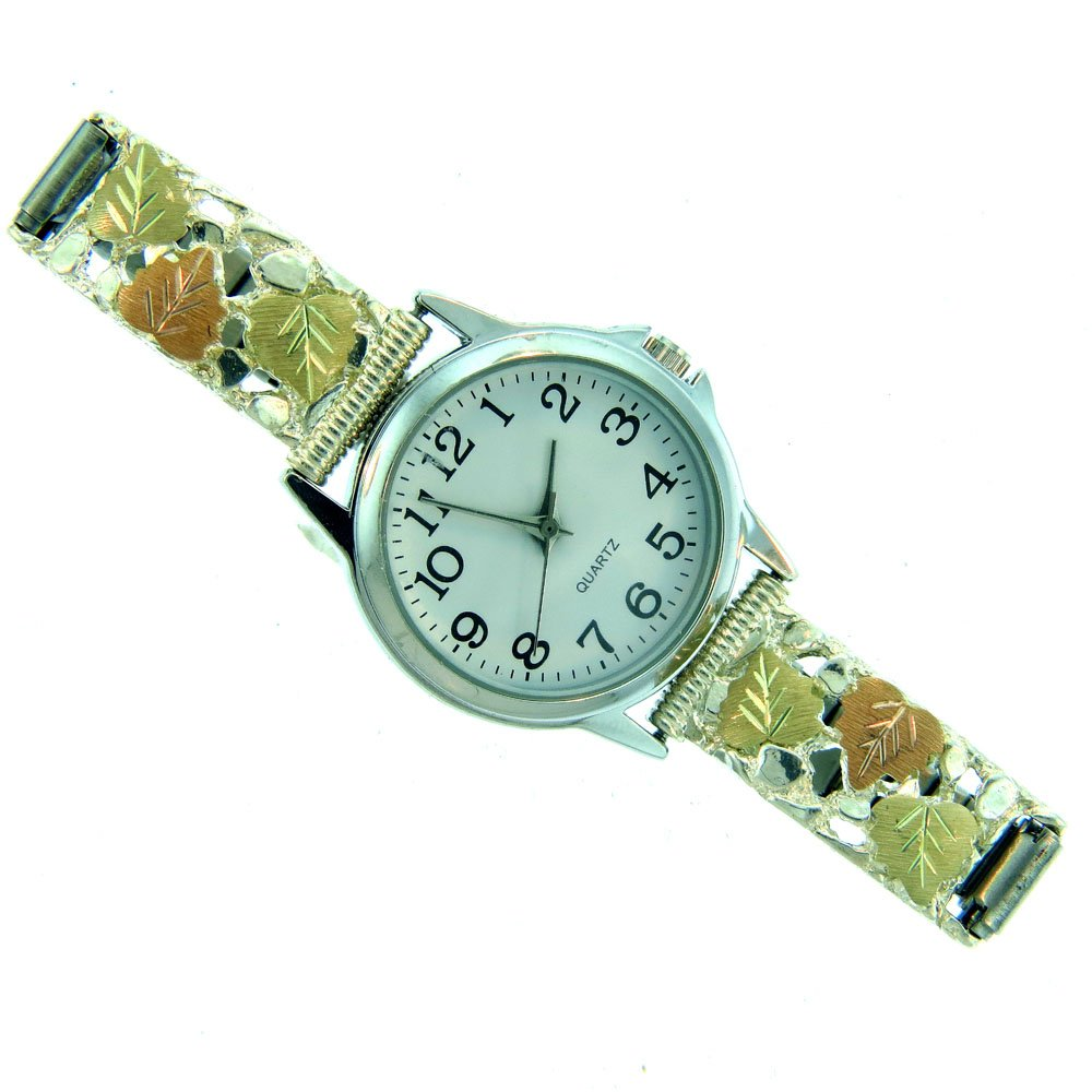 Gorgeous! Gold Black Hills Sterling-silver Nugget Band (ONLY)Women's Watch Band