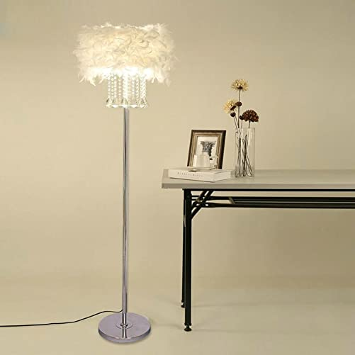 Hsyile Lighting KU300180 Modern and Simple Crystal Feather Floor Lamp Home Lighting