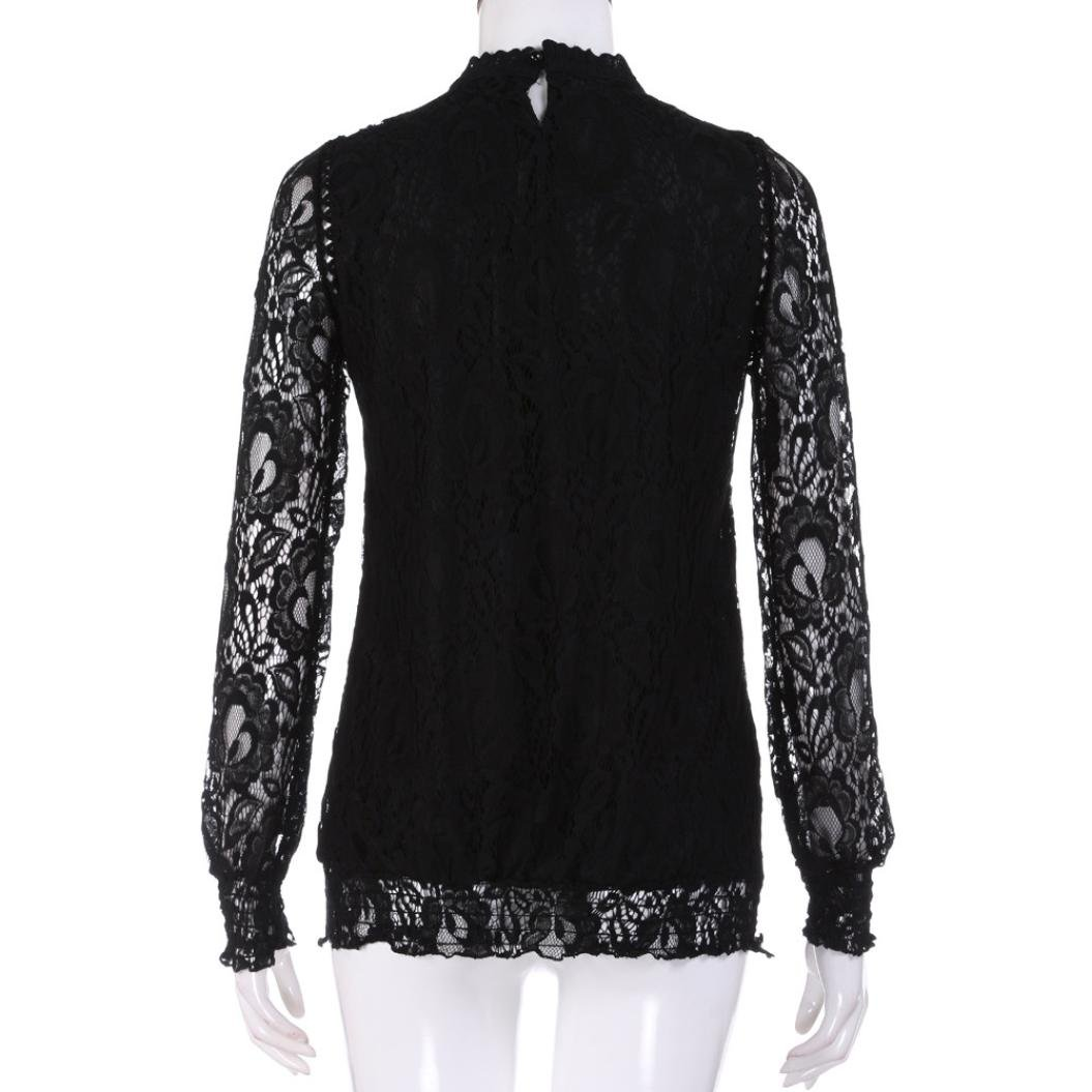 81604d30c09 Kangma Women Elegant Chiffon Solid Long Sleeve Lace Casual Tops T-Shirt  Blouse White at Amazon Women s Clothing store
