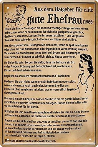 Blechschild Aus Ratgeber f/ür eine Gute Ehefrau 1955 20 x 30 cm Spruch Deko 452