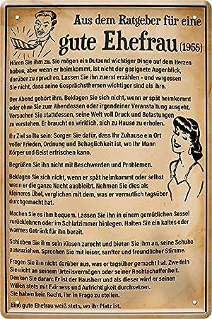 Blechschild Aus Ratgeber für eine Gute Ehefrau (1955) 20 x