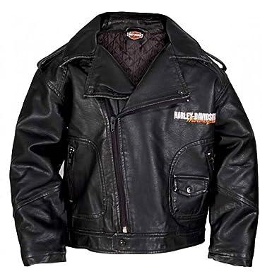 7e8a6d68 Harley-Davidson Little Boys' Upwing Eagle Biker Pleather Jacket Blk 0386074  ...