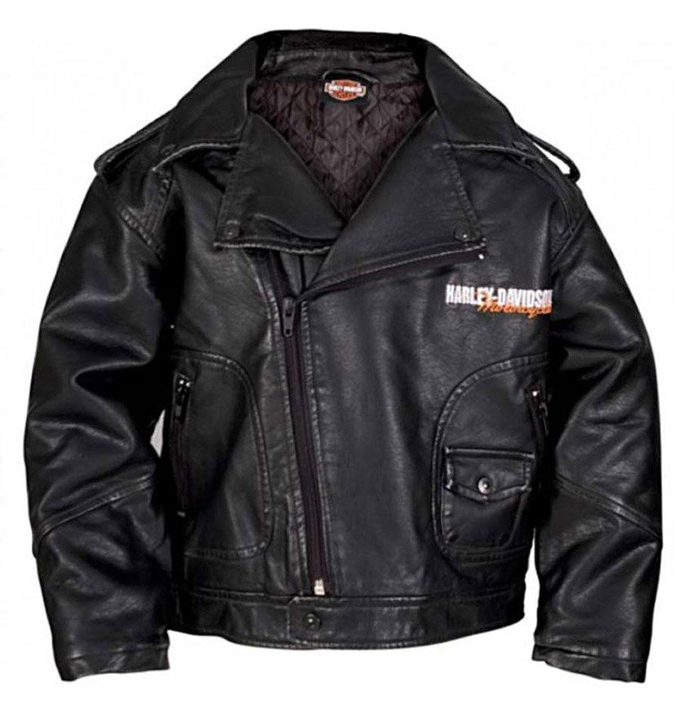 Harley-Davidson Little Boys' Upwing Eagle Biker Pleather Jacket Blk 0386074 (7)