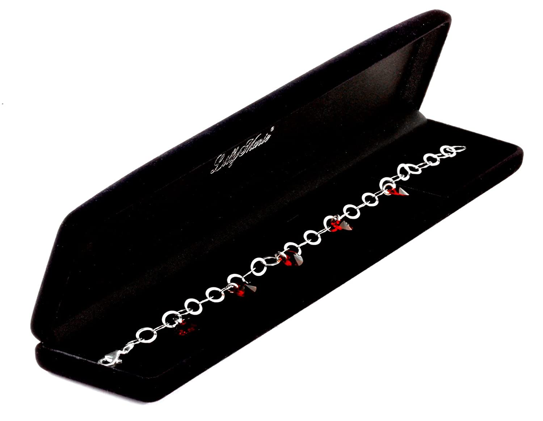 LillyMarie Femme Bracelet Argent Sterling 925 Cristaux Originaux de Swarovski Elements Rouge Rubis Longueur R/églable Bo/îte Cadeau Id/ée Petite Amie