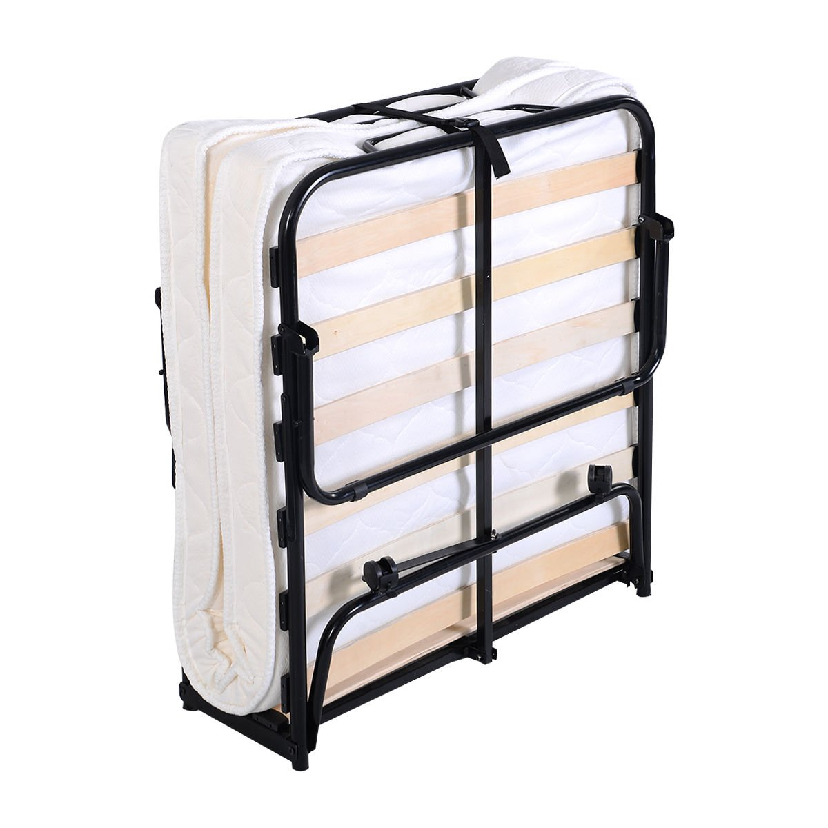 GHP 440Lbs Capacity Steel Frame Wood Slat Folding Foam Mattress Bed with Casters by Globe House Products (Image #3)
