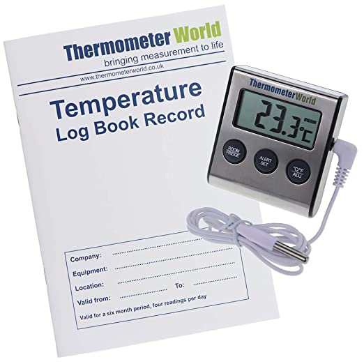 Libro de registro de temperatura con termómetro de nevera y alarma ...