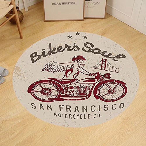 Gzhihine Custom round floor mat Retro Bikers Soul San Francisco Emblem with Skull Wings Riding Motorcycle Dead Bedroom Living Room Dorm Beige - Store Francisco San Outlet