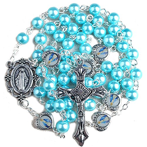 - HanlinCC 6mm Light Blue Glass Pearl Beads Rosary with Miraculous Medal