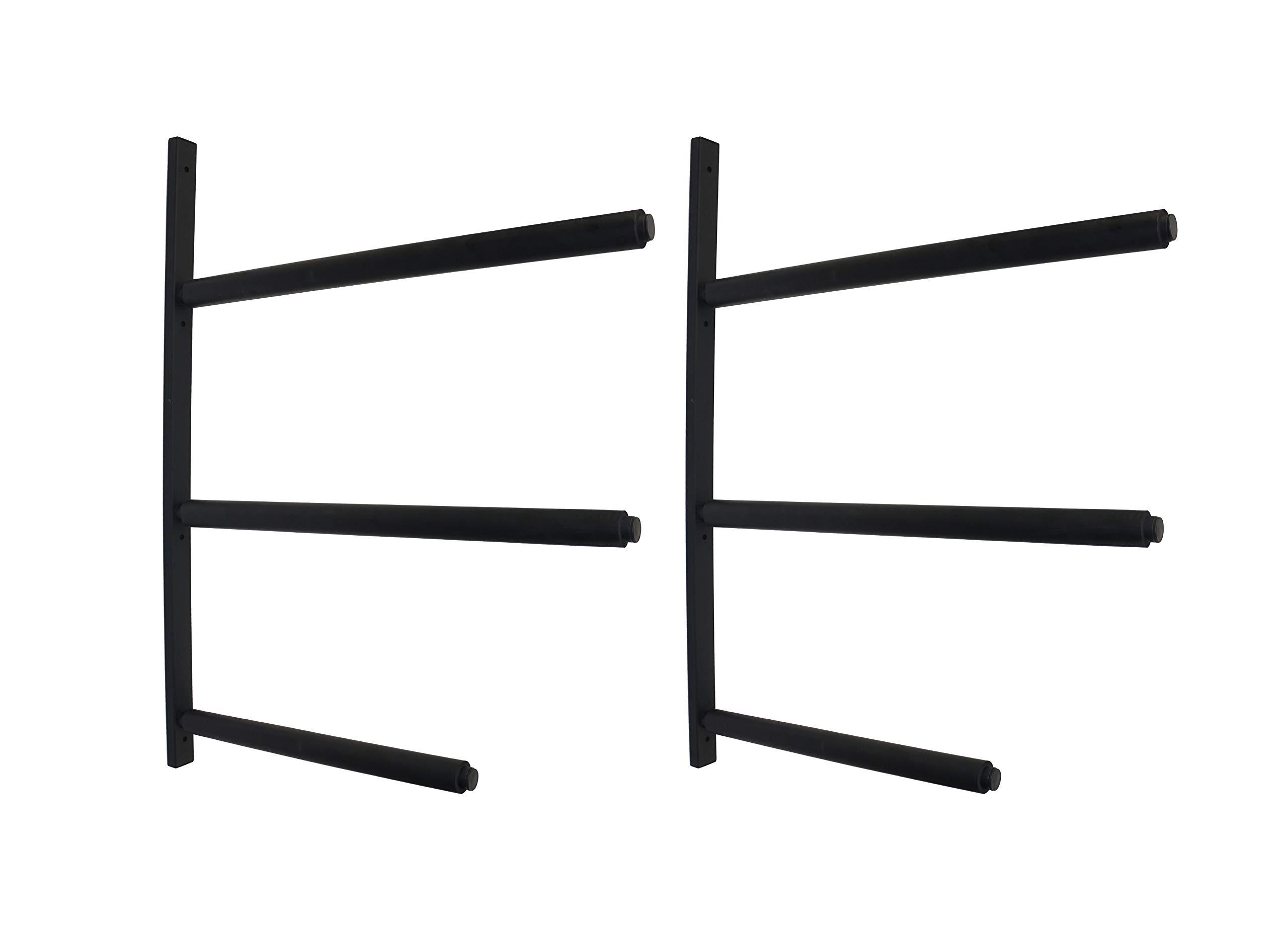 Mrhardware SUP Snowboard Surfboard Paddle Board Ski Wall Mount Storage Display Rack Cradle (Black, 3 Boards)