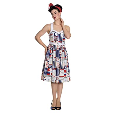 2a31ab8750 Hell Bunny Lighthouse 50s Dress (Cream Blue)  Amazon.co.uk  Clothing